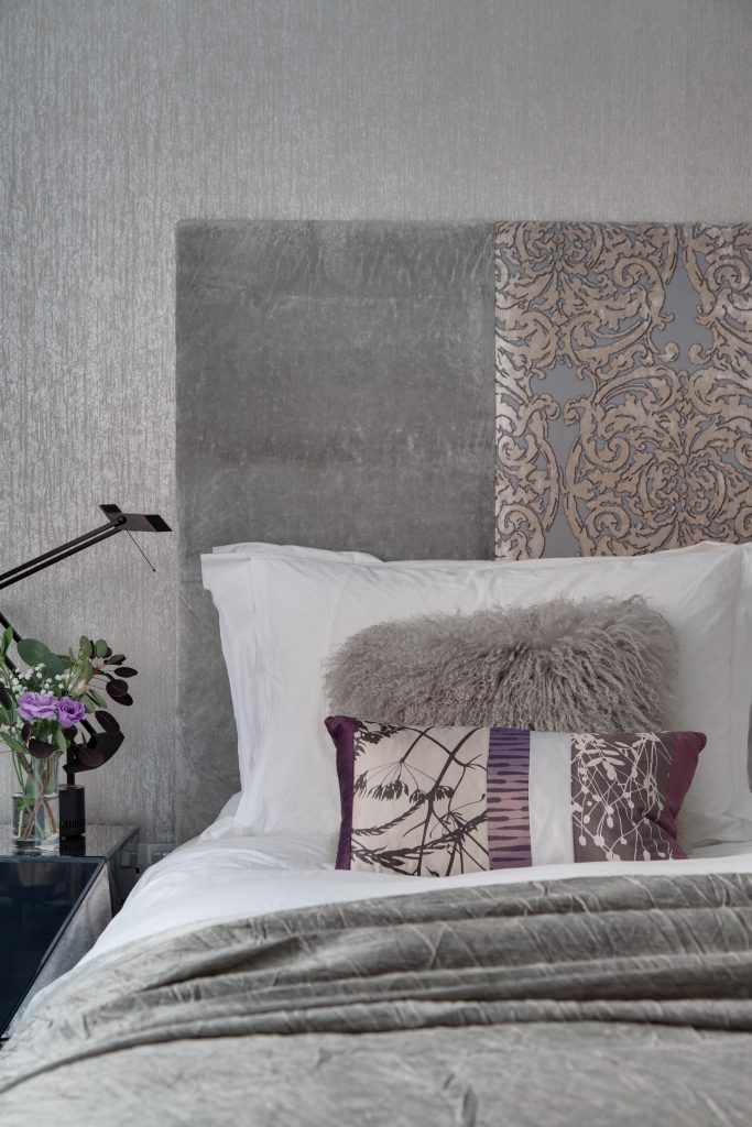 Layers of pattern and texture in a bedroom